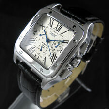 Square Mens Automatic Mechanical Watch Swiss Date Luxury Sport Wrist Watch W/Box