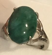BIG! 6.30CT! NATURAL HIGH QUALITY UNHEATED EMERALD RING,925 S-G SILVER SZ 6-9