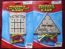 Set of 2 Wooden Peg Board Games Tic Tac Toe & Tricky Triangle