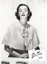1940's CAPE /4ply - COPY vintage  knitting pattern