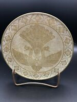 """Vintage India Peacock Hand Chased Heavy Brass Plate, 7 3/4"""" Dia, 1"""" High"""