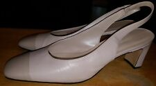 "Easy Spirit pumps cap toe off white size 9-B 2 3/4"" heel leather slip on"