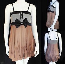 KLEID Rockabilly NEU Mini Damen Schleife braun schwarz Pin Up 50er Tanz Dress