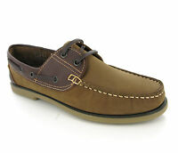 DEK 2 Tone Brown Leather Moccasin Boat Deck Lace Shoes Loafers Mens UK6-12