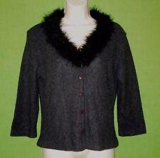 `Geri C. sweater cardigan gray 3/4 sleeve fur trim acrylic size L