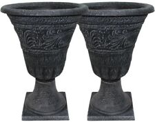 Ordinaire 25 Tall Tumbled Black Garden Urn Planter Flower Plant Pot Outdoor Decor 2  Pack