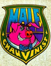 Original Vintage Roach 1973 Male Chauvinist Pig Iron On Transfer DAYGLO