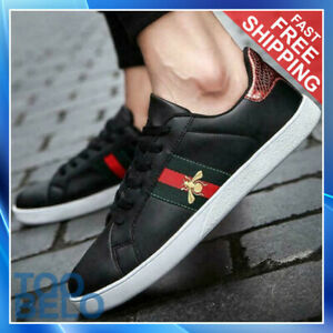 Men's Casual Shoes Men Skate Sneakers Leather White Shoes Luxury Embroidery FREE