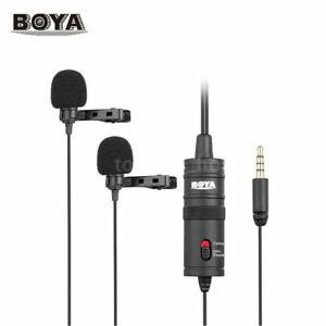 BOYA BY-M1DM Lavalier Lapel Condenser Dual Microphone 3.5mm DSLR Smartphone BNIB