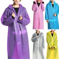 Women Waterproof Jacket Clear EVA Raincoat Long Rain Coat Hooded Poncho Rainwear