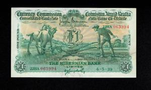 RARE IRISH BANKNOTE PLOUGHMAN HIBERNIAN IRELAND 1 ONE POUND 1939 DUBLIN BELFAST
