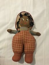 Vintage 1940s Black African American Hand Painted Molded Face Cloth Rag Doll