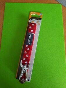 Petface Adjustable Dog Lead Nylon Red White Polka Dots - MEDIUM 102cm length