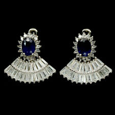 NATURAL 5 X 6 mm. BLUE SAPPHIRE & WHITE CZ 925 STERLING SILVER EARRINGS
