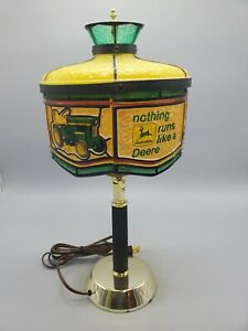 "Vintage John Deere ""Nothing Runs Like A Deere"" Snowmobile Farmhouse Table Lamp"