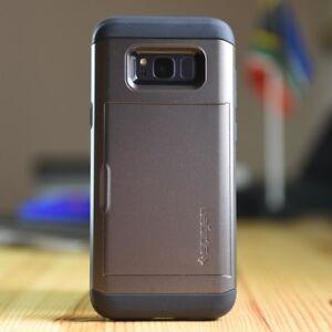 Samsung Note 3 4 5 8 9 Slide Wallet Credit Card Case Hidden Pocket ID CS + GLASS
