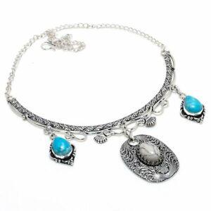 "Mosaic Jasper, Larimar Gemstone 925 Sterling Silver Jewelry Necklace 18"" s935"