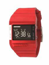 DZ7132 Uomini Donne DIESEL Quadrato Orologio Digitale Cinturino in Silicone Rosso Quadrante Nero Allarme