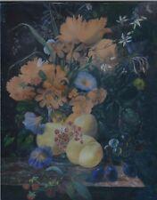 "19th Century Flemish/Dutch Style Gouache Still Life ""Flowers and Fruit"""