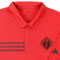 """Adidas Men Large 45"""" Knights of Columbus Golf Polo Shirt Red Polyester K of C"""