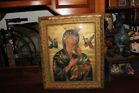 Antique Religious Virgin Mother Mary Madonna Print Gilded Wood Frame Christian
