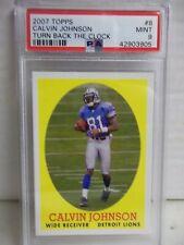 2007 Topps Calvin Johnson RC PSA Mint 9 Football Card #8 NFL Turn Back the Clock