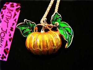 Betsey Johnson Fashion cute Enamel pumpkin Pendant Necklaces