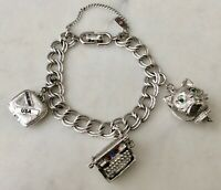 Vintage Monet Silver Tone Starter Mechanical 3 Charm Bracelet Blinking Cat