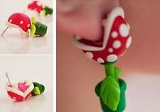 1 Paar 3D Cartoon Women Piranha Plant Polymer Clay Stud Earrings Jewelry