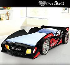 KIDS Childrens Black RED SPORTY BOYS Racing Car SINGLE Bed w/ LIGHT Timber Slat