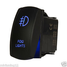 Universal Rocker 5pin Switch Blue Led Fog Light On Off Button Toggle Control