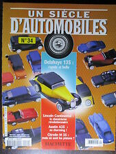 FASCICULE UN SIECLE D'AUTOMOBILES  34 DELAHAYE 135 M35 MONICA AVENTIME HON