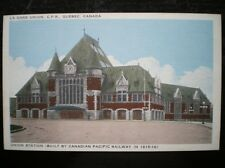 LINEN POSTCARD  CANADA QUEBEC UNION STATION (BUILT BY CANADIAN PACIFIC RAILWAY I
