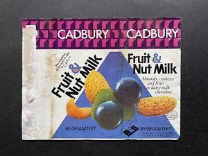 CADBURY VINTAGE FRUIT & NUT MILK CHOCOLATE 1970's WRAPPER