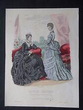 GRAVURE MODE 19e - LA MODE ILLUSTRÉE - TOILETTES MME FLADRY 1874 - GRAND FORMAT
