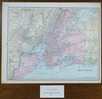 "Vintage 1901 GREATER NEW YORK Map 14""x11"" ~ Old Antique Original MANHATTAN NYC"