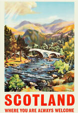 Scottish Vintage Railway Poster Scotland Train TRAVEL Tourism Ad ART PRINT A3 A4