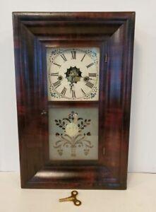 Antique Miniature Ogee Shefl Clock 30 Hour Waterbury Gong Rosewood Veneer Works