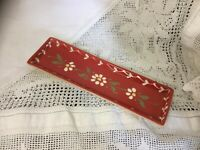 """French hand painted ceramic spoon rest """"Potiers D'Alsace"""" Red Daisies"""