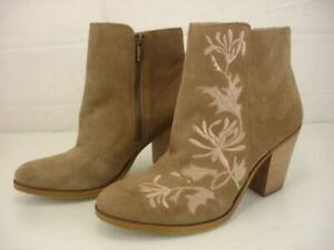 Women's 9.5 M Lucky Brand Elenor2 Tan Suede Leather Embroidered Ankle Boots Zip