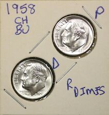 1958 P&D Roosevelt Dimes Ch Bu Us Coin From Obw Rolls Free Shipping