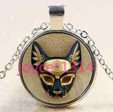 Vintage Bast mask Cabochon Tibetan silver Glass Chain Pendant Necklace #2574