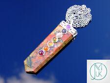 Unakite 7 Chakra Flat Natural Gemstone Pendant Necklace 50cm Healing Stone