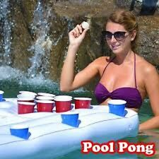 Pool Lounge Inflatable Beer Pong Table with Social Floating, 6' Long Party Lake