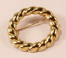 VINTAGE TIFFANY & CO. 18K YELLOW GOLD TWISTED ROPE PATTERN PIN PENDANT BROOCH