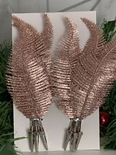 X 6 Blush pink Glitter Clip On Feather Christmas Tree Decorations 22cm