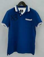 Men Hackett Polo Shirt Blue Cotton Short Sleeves S VCA12
