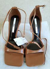 Zara Brown Stiletto Heel Square Toe Ankle Strap Sandals Shoes UK7 EU40 BNWT