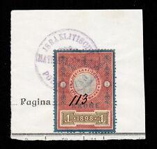 1898 K. K. OESTERREICHISCHE STEMPELMARKE 1 KRONE ON PIECE REVENUE FISCAL AUSTRIA