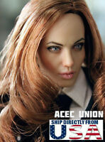 1/6 Angelina Jolie Mrs. Smith Head Sculpt For Hot Toys Phicen Female Figure USA
